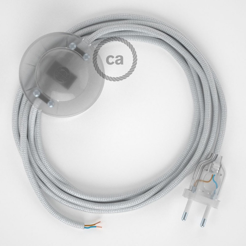 Sladdställ med fotströmbrytare, RM02 Silver Viskos 3 m. Välj färg på strömbrytare och kontakt
