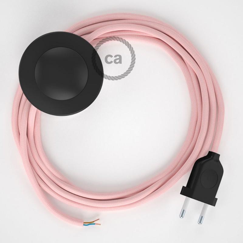 Sladdställ med fotströmbrytare, RM16 Ljusrosa Viskos 3 m. Välj färg på strömbrytare och kontakt