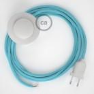 Sladdställ med fotströmbrytare, RM17 Ljusblå Viskos 3 m. Välj färg på strömbrytare och kontakt
