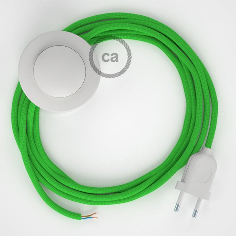 Sladdställ med fotströmbrytare, RM18 Limegrön Viskos 3 m. Välj färg på strömbrytare och kontakt