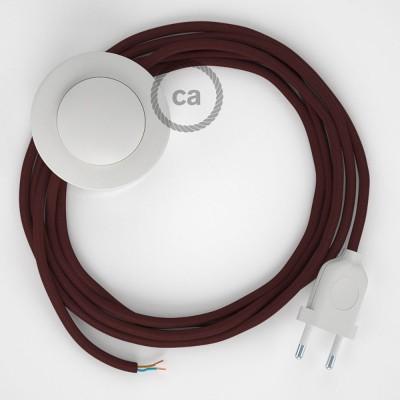 Sladdställ med fotströmbrytare, RM19 Vinröd Viskos 3 m. Välj färg på strömbrytare och kontakt