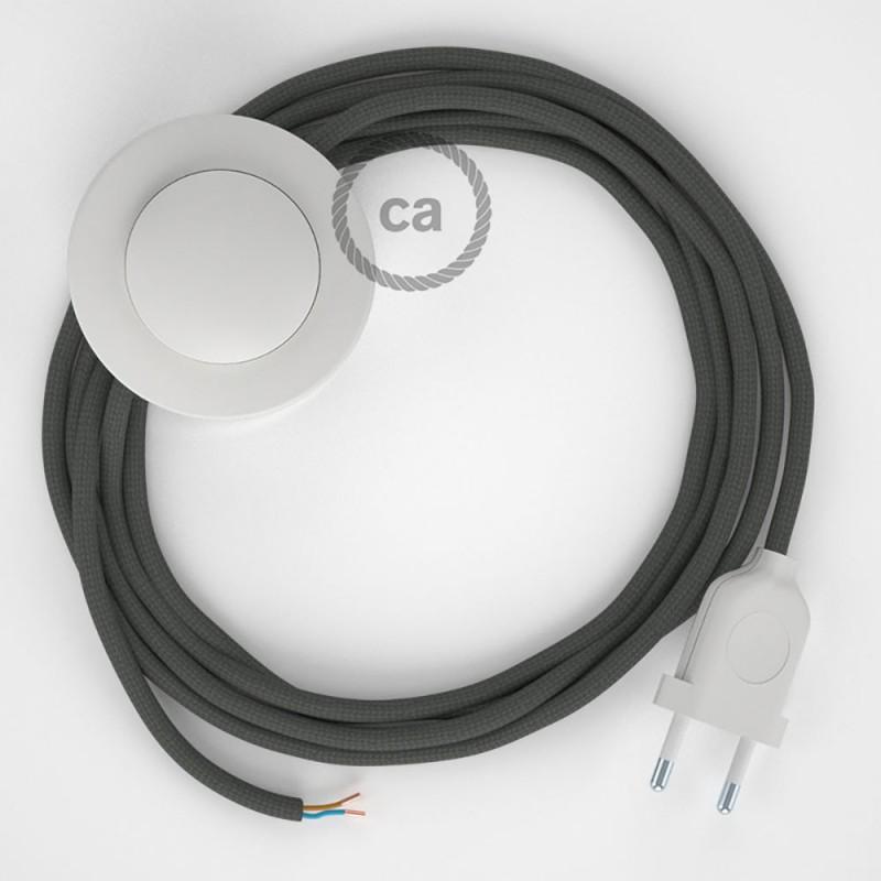 Sladdställ med fotströmbrytare, RM03 Grå Viskos 3 m. Välj färg på strömbrytare och kontakt