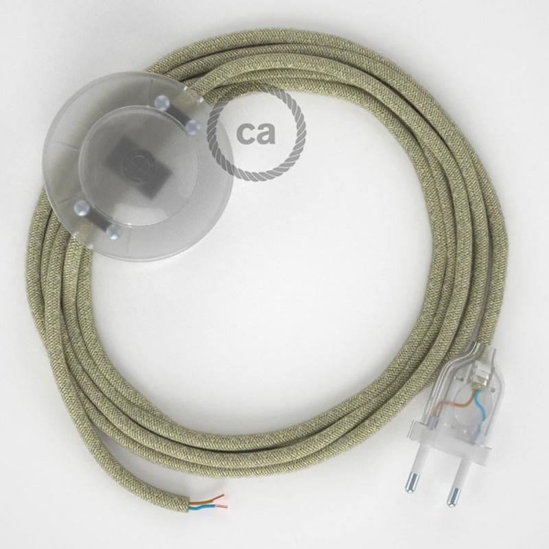 Sladdställ med fotströmbrytare, RN01 Natur Naturligt linne 3 m. Välj färg på strömbrytare och kontakt