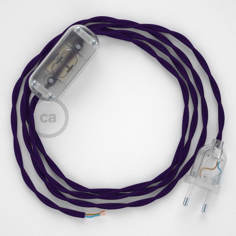 Sladdställ, TM14 Purpur Viskos 1,80 m. Välj färg på strömbrytare och kontakt