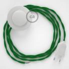Sladdställ med fotströmbrytare, TM06 Grön Viskos 3 m. Välj färg på strömbrytare och kontakt