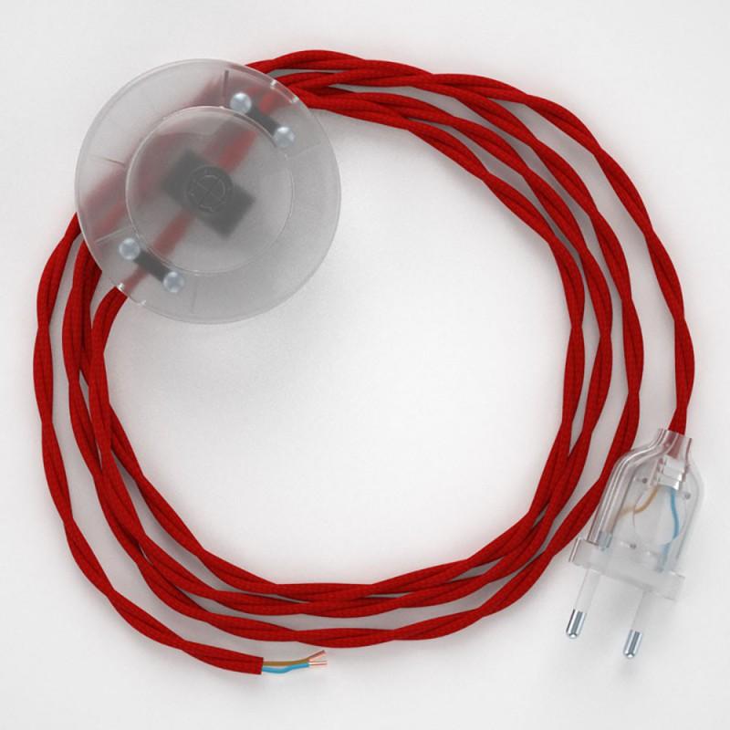Sladdställ med fotströmbrytare, TM09 Röd Viskos 3 m. Välj färg på strömbrytare och kontakt