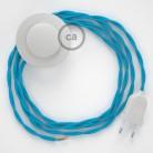 Sladdställ med fotströmbrytare, TM11 Azurblå Viskos 3 m. Välj färg på strömbrytare och kontakt