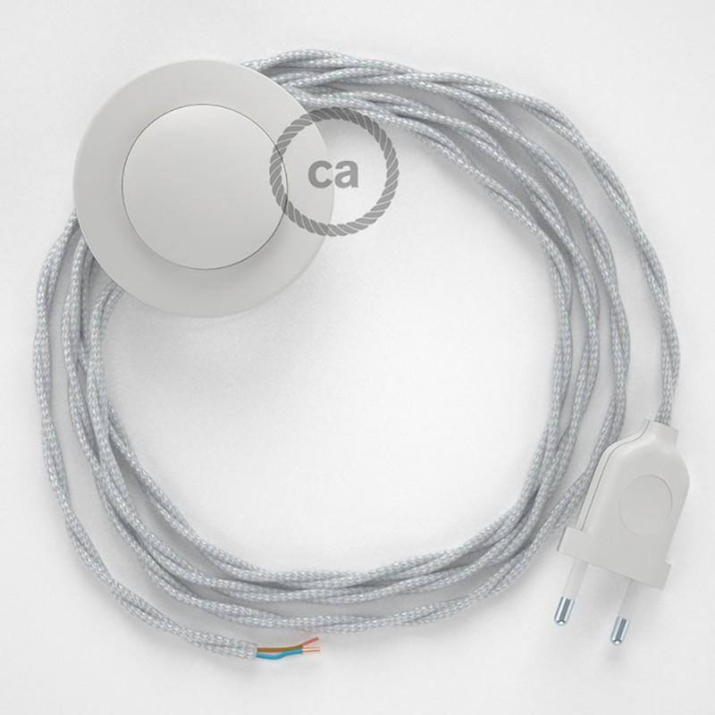 Sladdställ med fotströmbrytare, TM02 Silver Viskos 3 m. Välj färg på strömbrytare och kontakt