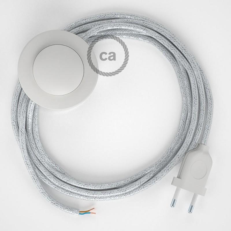 Sladdställ med fotströmbrytare, RL01 Vit glittrig Viskos 3 m. Välj färg på strömbrytare och kontakt