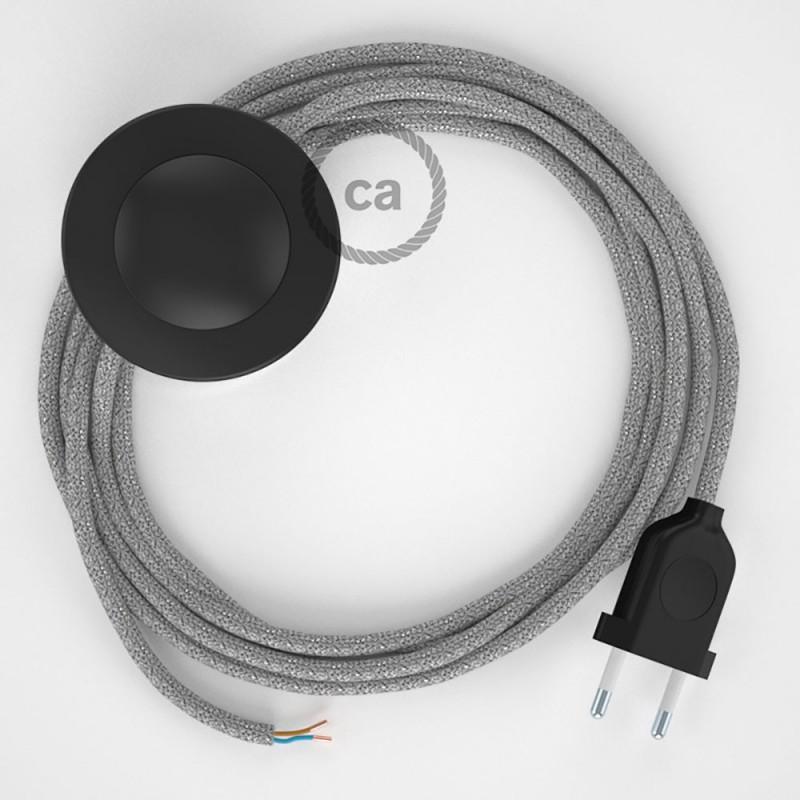 Sladdställ med fotströmbrytare, RL02 Silver glittrig Viskos 3 m. Välj färg på strömbrytare och kontakt