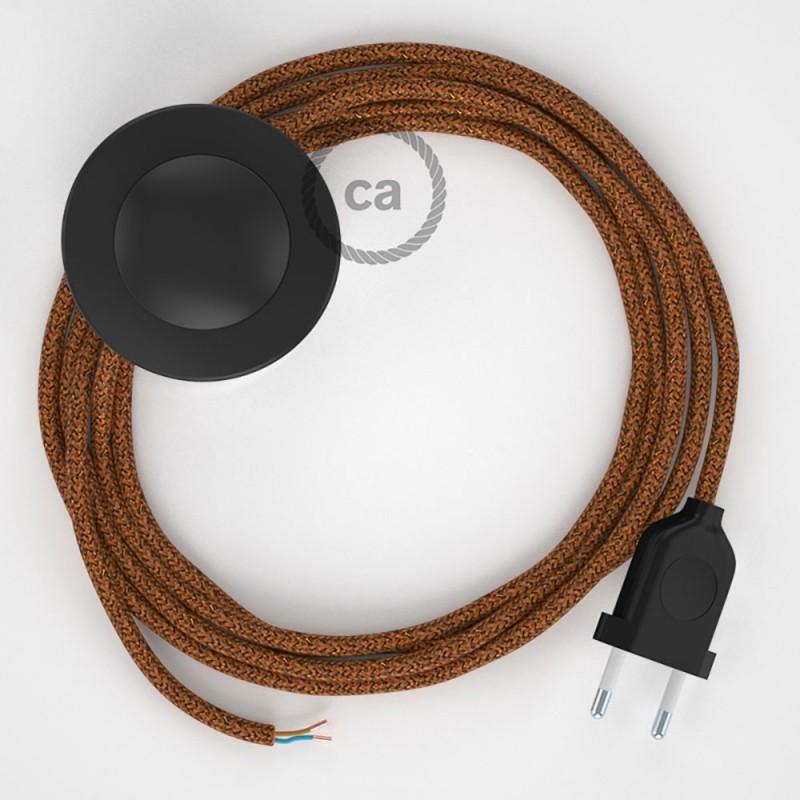 Sladdställ med fotströmbrytare, RL22 Koppar glittrig Viskos 3 m. Välj färg på strömbrytare och kontakt