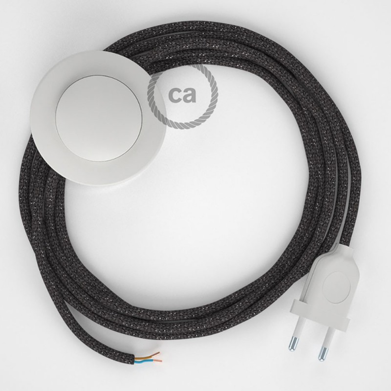 Sladdställ med fotströmbrytare, RL03 Grå glittrig Viskos 3 m. Välj färg på strömbrytare och kontakt