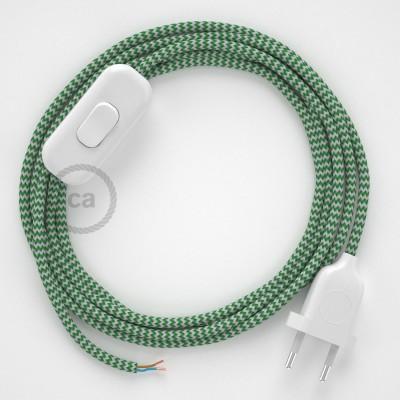 Sladdställ, RZ06 Grön Zig Zag Viskos 1,80 m. Välj färg på strömbrytare och kontakt