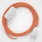 Sladdställ, RZ15 Orange Zig Zag Viskos 1,80 m. Välj färg på strömbrytare och kontakt