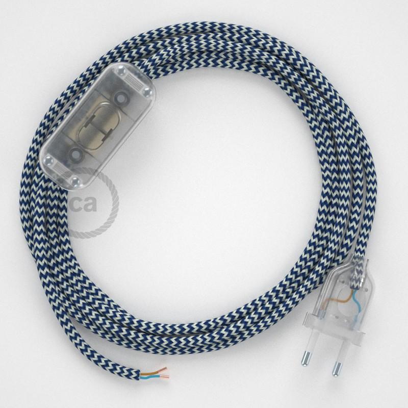 Sladdställ, RZ12 Blå Zig Zag Viskos 1,80 m. Välj färg på strömbrytare och kontakt