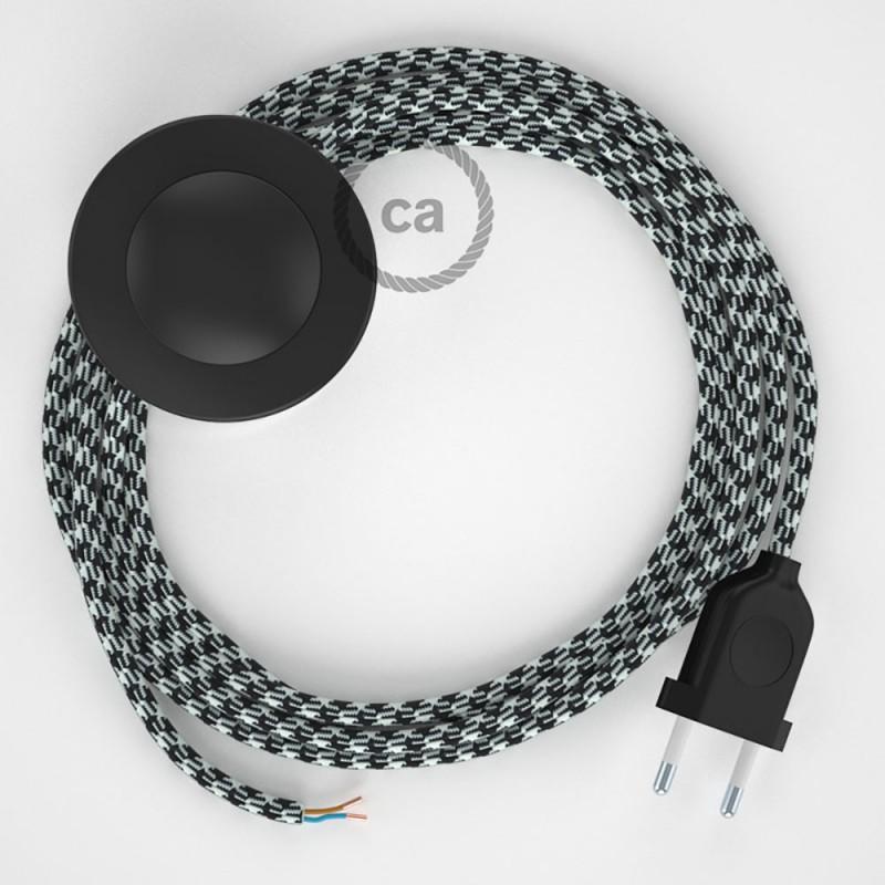 Sladdställ med fotströmbrytare, RP04 Svart/Vit Viskos 3 m. Välj färg på strömbrytare och kontakt