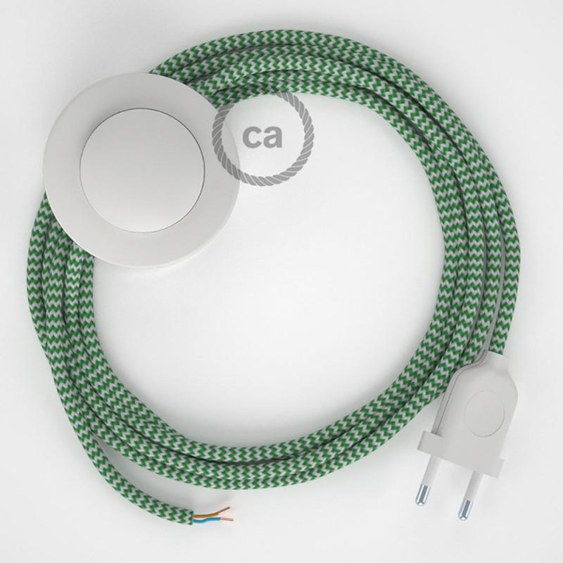 Sladdställ med fotströmbrytare, RZ06 Grön Zig Zag Viskos 3 m. Välj färg på strömbrytare och kontakt
