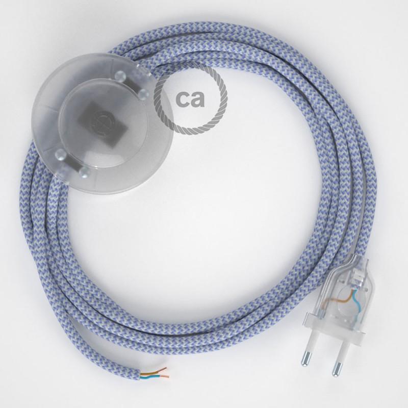 Sladdställ med fotströmbrytare, RZ07 Lila Zig Zag Viskos 3 m. Välj färg på strömbrytare och kontakt