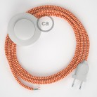 Sladdställ med fotströmbrytare, RZ15 Orange Zig Zag Viskos 3 m. Välj färg på strömbrytare och kontakt
