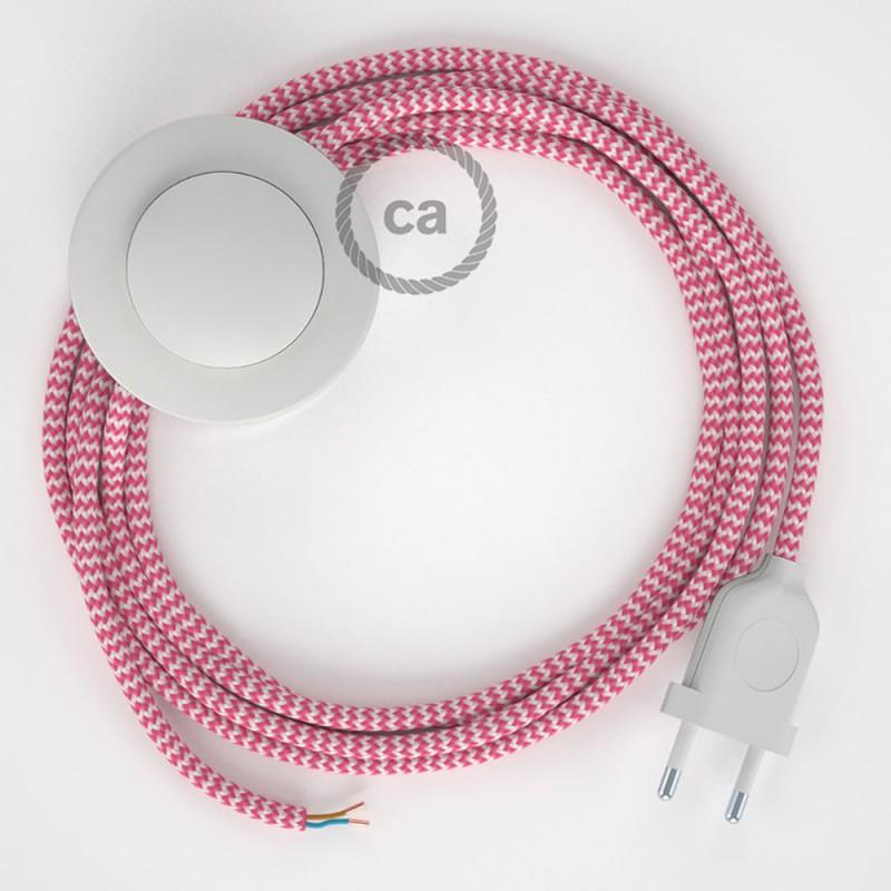 Sladdställ med fotströmbrytare, RZ08 Cerise Zig Zag Viskos 3 m. Välj färg på strömbrytare och kontakt