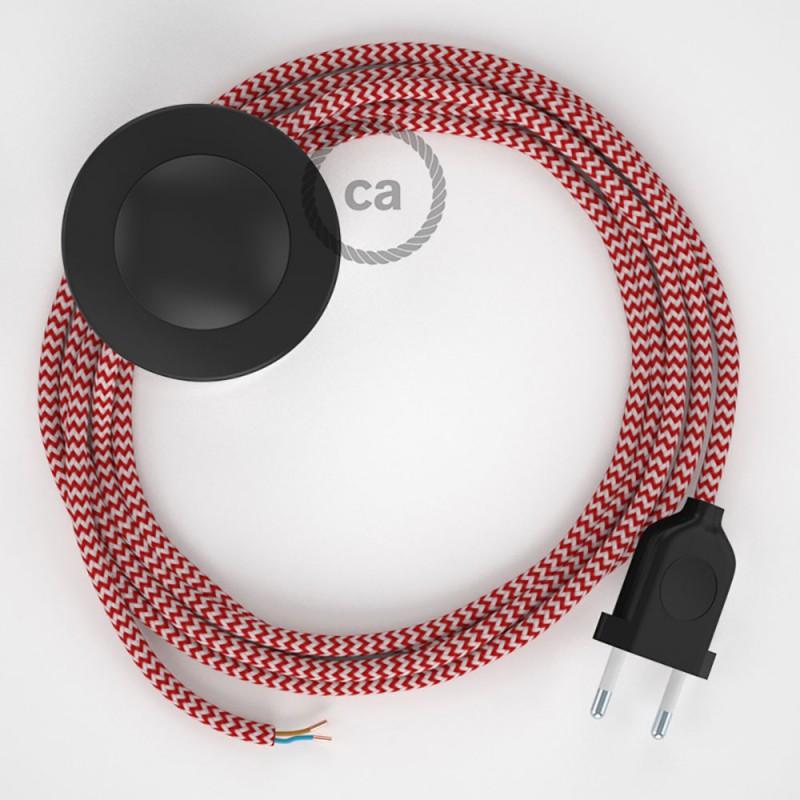 Sladdställ med fotströmbrytare, RZ09 Röd Zig Zag Viskos 3 m. Välj färg på strömbrytare och kontakt