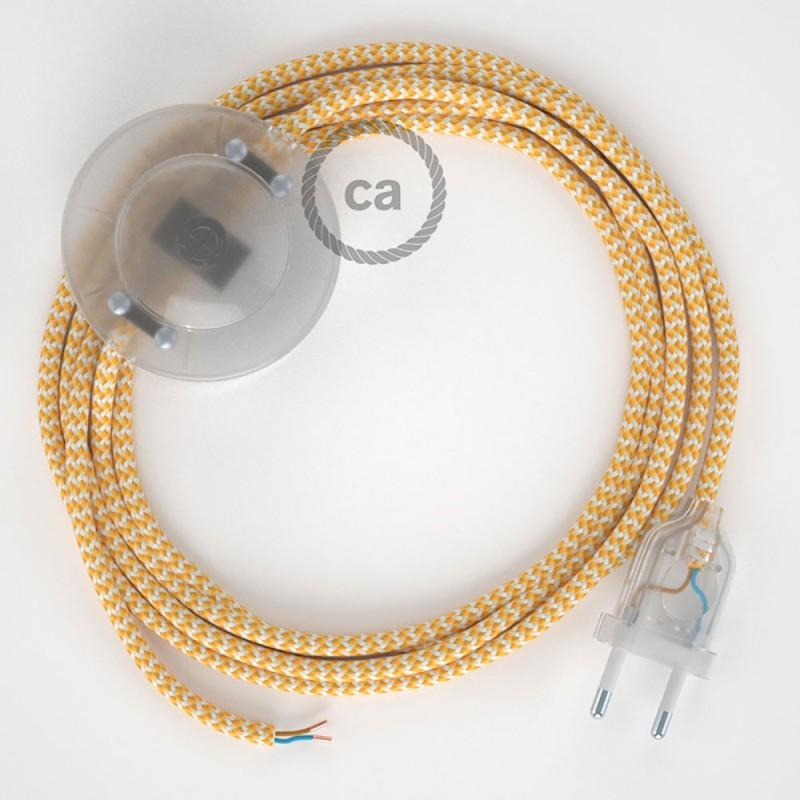 Sladdställ med fotströmbrytare, RZ10 Gul Zig Zag Viskos 3 m. Välj färg på strömbrytare och kontakt