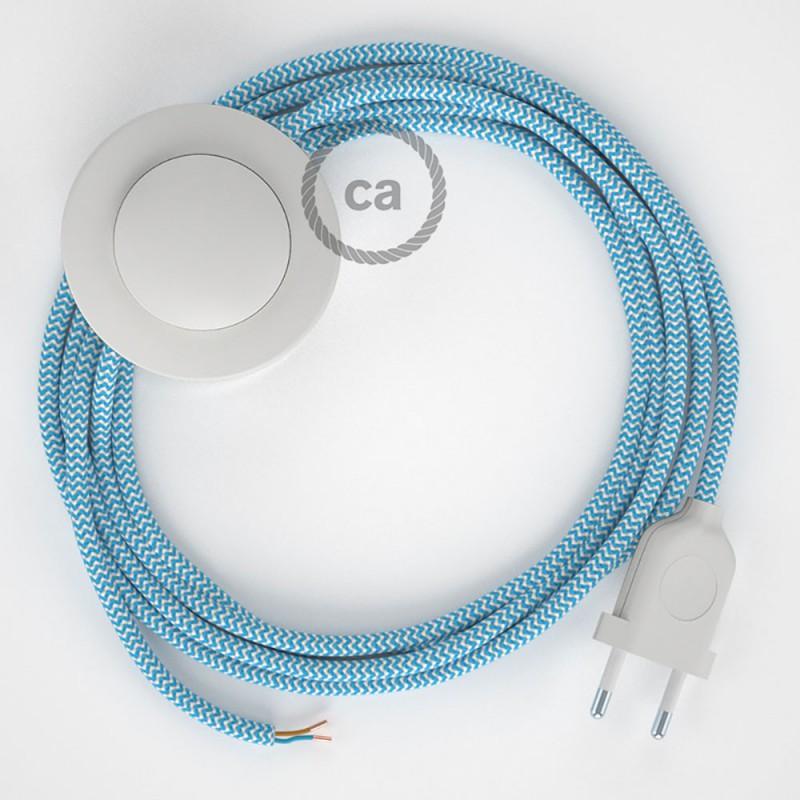 Sladdställ med fotströmbrytare, RZ11 Turkos Zig Zag Viskos 3 m. Välj färg på strömbrytare och kontakt