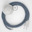 Sladdställ med fotströmbrytare, RZ12 Blå Zig Zag Viskos 3 m. Välj färg på strömbrytare och kontakt