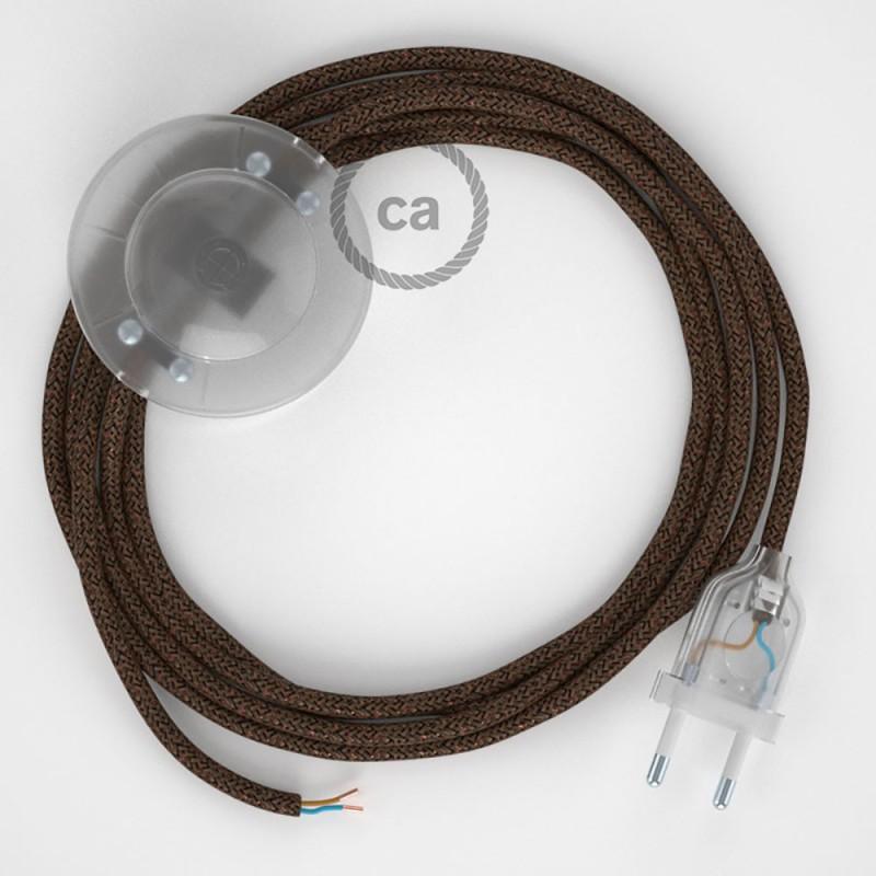 Sladdställ med fotströmbrytare, RL13 Brun Viskos 3 m. Välj färg på strömbrytare och kontakt