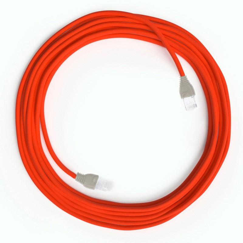 Neon orange LAN Kabel i tyg