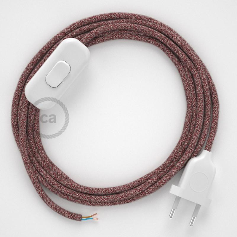 Sladdställ, RS83 Röd glittrig Tweed Bomull och naturligt linne 1,80 m. Välj färg på strömbrytare och kontakt