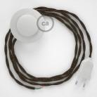 Sladdställ med fotströmbrytare, TN04 Brun Naturligt linne 3 m. Välj färg på strömbrytare och kontakt