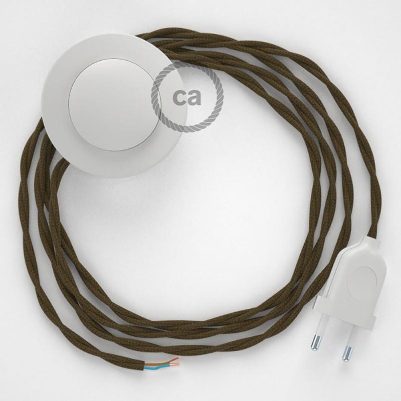Sladdställ med fotströmbrytare, TC13 Brun Viskos 3 m. Välj färg på strömbrytare och kontakt