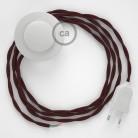 Sladdställ med fotströmbrytare, TM19 Vinröd Viskos 3 m. Välj färg på strömbrytare och kontakt