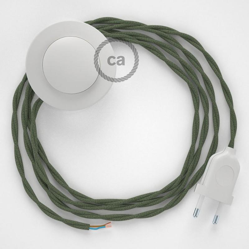 Sladdställ med fotströmbrytare, TC63 Grå/Grön Bomull 3 m. Välj färg på strömbrytare och kontakt