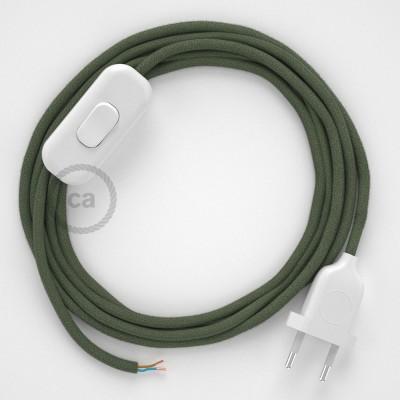 Sladdställ, RC63 Grå/Grön Bomull 1,80 m. Välj färg på strömbrytare och kontakt