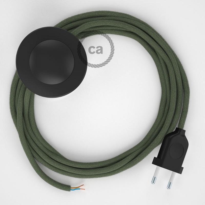 Sladdställ med fotströmbrytare, RC63 Grå/Grön Bomull 3 m. Välj färg på strömbrytare och kontakt