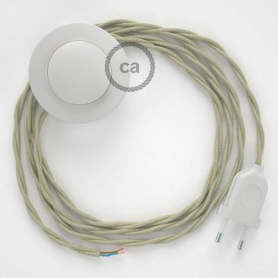 Sladdställ med fotströmbrytare, TC43 Dove Bomull 3 m. Välj färg på strömbrytare och kontakt