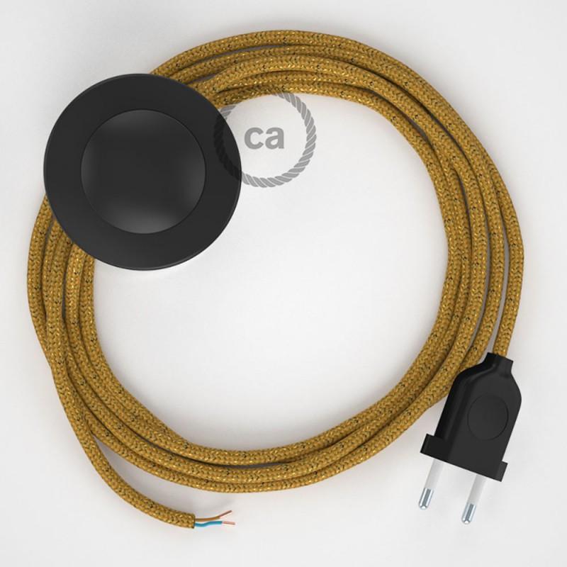 Sladdställ med fotströmbrytare, RL05 Guld Viskos 3 m. Välj färg på strömbrytare och kontakt