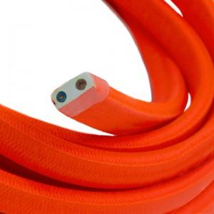 Textilkabel för String Lights, täckt av viskostyg, Orange Fluo CF15