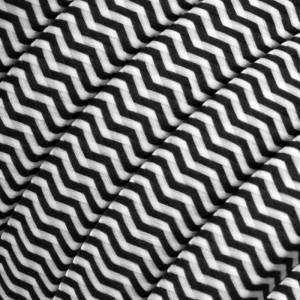 Textilkabel för String Lights, täckt av viskostyg, Svart-vit sicksack RZ04