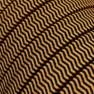 Textilkabel i viskos för String Lights, ZigZag Black-Whiskey CZ22