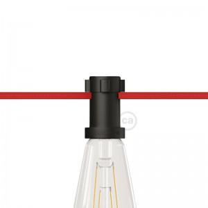 Svart E27-lamphållare i termoplast för String Lights