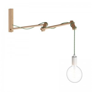 Pinocchio XL, adjustable wooden wall support for wall lamps
